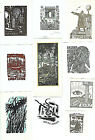Collection of 10 Vintage Ex libris litho etching woodcut signed