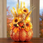 Lighted Pumpkin Harvest Fall Halloween Tabletop Shelf Mantel Floral Decor 14H