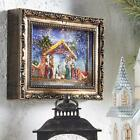 NEW Raz 95 LED Lighted Nativity Scene in Picture Frame Spinning Water Globe