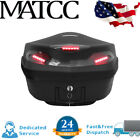 48L Universal Motorcycle Scooter Trunk Rear Case Box Luggage LED Lights Large US