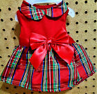 CHRISTMAS HOLIDAY TIME Dog Puppy Red Plaid Dress XXS S M