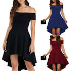 Women Fashion Off-Shoulder Sexy High Low Short Dress Casual Evening Party Wear