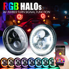 CREE LED 7 Headlight with Bluetooth RGB Halo For 97 18 Jeep Wrangler JK