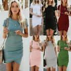 Women Short Sleeve Bodycon Midi Dress Ladies Summer Casual Stretch T shirt Dress