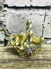 Jay Strongwater Trinket Box Hinged Bunny Rabbit Basket Swarovski Crystals