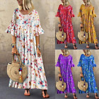 S~5XL Women Round Neck Bell Sleeve Dress Floral Print Maxi Sundress Plus Size