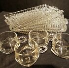 Hazel Atlas Glass 4 Clear Orchard Crystal Snack Plate with Cup Sets Vintage