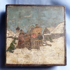 TERRIFIC 1900S IMPERIAL RUSSIAN COLOURED BOX SLEIGH IN SNOW SCENE