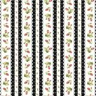 Fabric Flowers Roses Rosebuds Ditsy Border on Black Flannel by the 1 4 yard