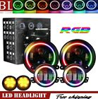 RGB 7 LED Headlight+RGB Fog Light+Turn Signal Fit 07 18 Jeep Wrangler JK