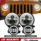 LED Halo Headlights + LED Fog Light DRL Combo Kit For Jeep Wrangler JK 2007 2017