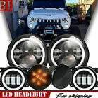 7 Black LED Headlight+4 FogLights+Turn Signal Combo DRL Fit Jeep Wrangler JK