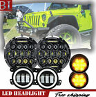 7 75W LED Headlights w LED Turn Signal  Fog Light Combo For 07 17 Jeep JK