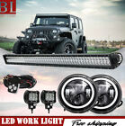 7 Black LED Halo Angel Eyes Headlight DRL+52 LED Light Bar For JK 2007 2017
