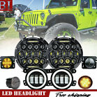 7 LED Headlight+Foglight+Turn Signal+Fender Combo For 07 17 Jeep Wrangler JK