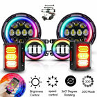 7LED Headlight RGB Halo Fog Light +Tail Light fit Jeep Wrangler JK 6pcs DOT