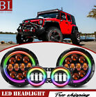 2X 7inch75W RGB Halo Ring LED Headlight + 4 RGB Foglight For Jeep Wrangler JK