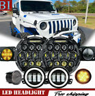 8pcs 7 RoundLED Headlights+Fog+Turn+Fender Combo For Jeep Wrangler JK 07 17