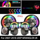 7 Multi Color RGB LED Headlights +4Fog+Turn+Fender Lamp For Jeep Wrangler JK