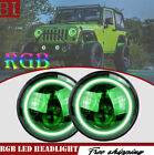 2X RGB Halo Ring 7 7Inch Bluetooth APP 60W LED Headlights For Jeep Wrangler JK
