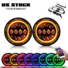 2X 7inch 75W RGB Halo Ring LED Headlight W Bluetooth for Jeep Wrangler JK TJ TJ