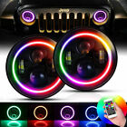 7Headlight Color Changing Halo Projector Angel DRL for Jeep Wrangler JK TJ LJ