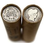 90 Silver Barber Dime on Old Wheat Cent Roll Rare US Coins Lincoln Mixed Dates