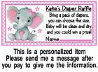 20 Elephant Baby Shower Diaper Raffle Game Tickets Cards Pink Girl Personalized