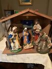 Large Vintage Nativity Set With Musical Creche