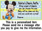 20 Baby Mickey Mouse Baby Shower Diaper Raffle Tickets Game Cards Blue Yellow