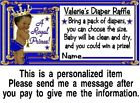 20 Ethnic Royal Prince Baby Shower Diaper Raffle Tickets Game Cards Blue Gold