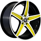 4 17x75 Black Gold Wheel White Diamond W253 4x100 4x45 35