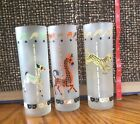 Vintage LIBBY CAROSEL ANIMAL FROSTED GLASSES (3) COUNT