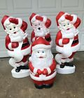 4 Vintage Union Products Santa Blow Mold Lot Large Outdoor