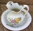 Vintage Large Pitcher Wash Basin Ceramic white with yellow  pink roses design