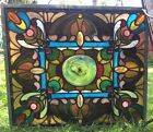 Rare Antique Nouveau Stained Glass Window Jewels Rondel 31 x 27 Museum Piece