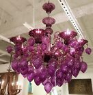 New Murano Style Purple Glass Bella Chandelier Modern Glam Light Fixture Horchow