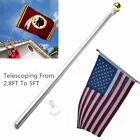 5 ft Sectional Aluminum flagpole US American USA 3x5 Flag Pole Gold Ball Kit