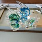 ART GLASS Vtg Set 3 Angel Fish Swordfish Figurines Hand Crafted Blue Green
