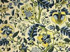 Waverly Imperial Dress Yellow Navy Blue Green Floral Drapery Upholstery Fabric