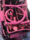 Vintage Scrapbook Tote Craft Organizer Pink Brown Pre Owned Good Condition