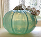 HAND BLOWN GLASS OPAL TURQUOISE PUMPKIN TWISTED COPPERY HANDLE HALLOWEEN