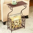 Side End Accent Table w h Rack Magazine Holder Leaves Iron Scrolled Design 22H