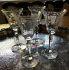 Antique Cut Etched Crystal 4 Stemmed Cordial Glasses 45 tall c1920s