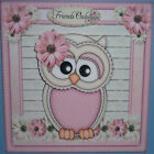 HANDMADE 3 D BIRTHDAY GRETTING CARD WITH A SENTIMENT FOR A FRIEND PINK OWL