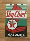 Vtg Porcelain Texaco Pump Plate Sign Old Gas Service Station 12x18 Sky Chief