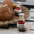 White Ceramic Salt  Pepper Shakers Set French Chef Collectible Shakers