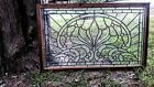 SPARKLING BEVELLED GLASS ARCH JEWELLED STAINED GLASS WINDOW IN WOOD FRAME 36X22
