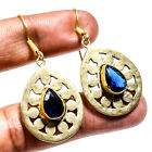 Blue Sapphire Gold Plated Gemstone Jewelry Earring 207