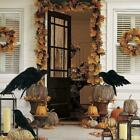 Halloween Crow Prop Black Realistic Raven Feathered Spooky Party Home Decor Sd